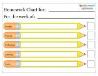 pencil homework chart