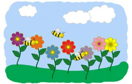 bees and flowers clip art