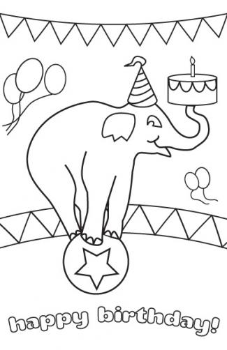 Printable circus elephant birthday card to color