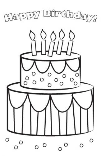 Printable birthday cake card to color