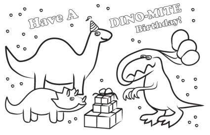 Printable Dinosaur Birthday Card To Color
