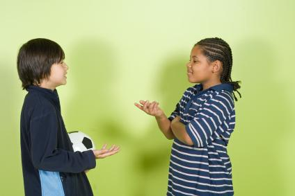 Two kids having a discussion