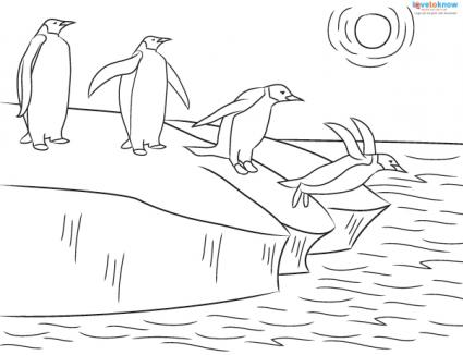 penguins diving coloring page