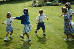 Children playing blindman's bluff