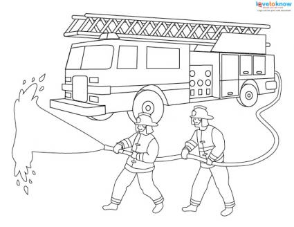 Fire Engine Coloring Page With Firefighters