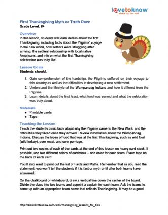 First Thanksgiving Myth or Truth Lesson