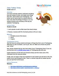 zany turkey trivia lesson plan