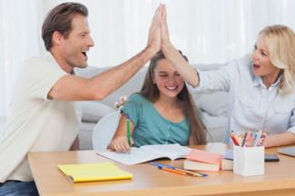 Parents doing high five
