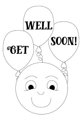 Smiley Face Get Well Card To Color