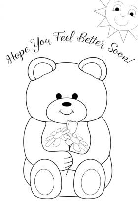 Teddy Bear Get Well Card To Color