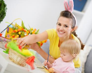 Woman with toddler at Easter