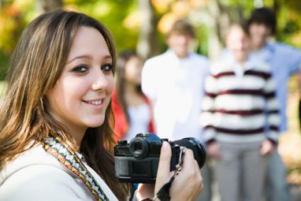 Student with digital camera