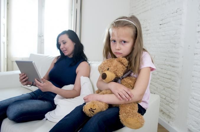 Mother ignoring daughter