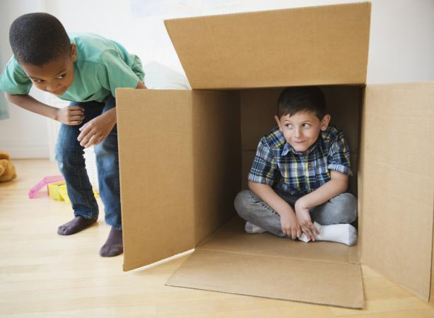 boys playing with box