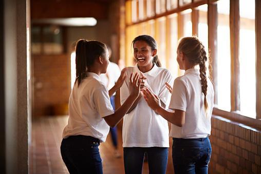 Students having recess at school