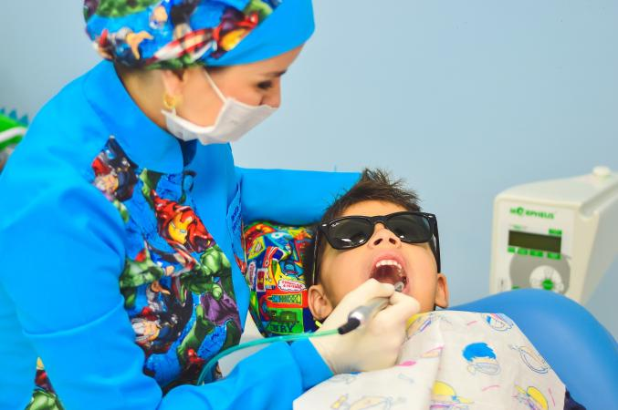 child having dental work done