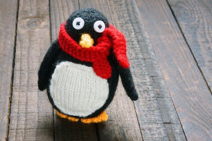 Handmade stuffed knit penguin