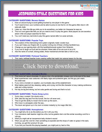 photograph regarding Baby Jeopardy Questions and Answers Printable identify Jeopardy-Design Concerns for Youngsters LoveToKnow