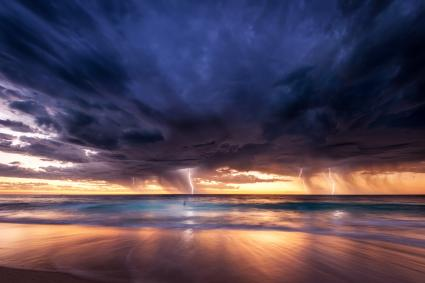 Perth beach lightning storm