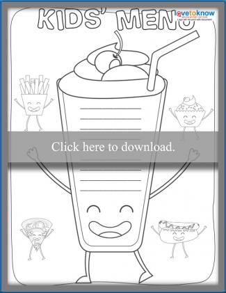 Uncolored Food Character Kids' Menu