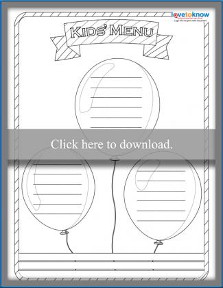Uncolored Balloon Theme Kids' Menu