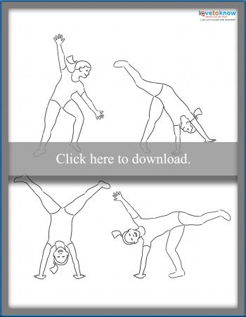 Children doing cartwheels coloring page