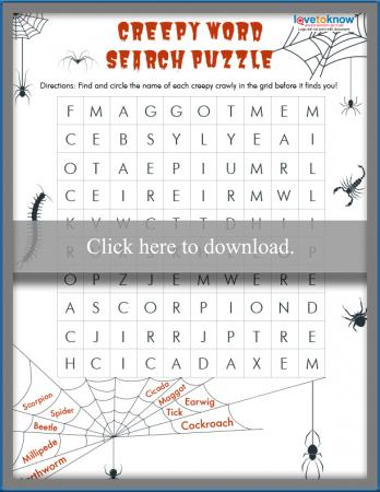 Kids creepy word search puzzle