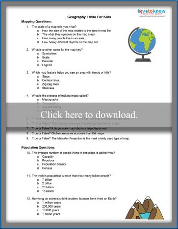 Printable Geography Trivia for Kids | LoveToKnow