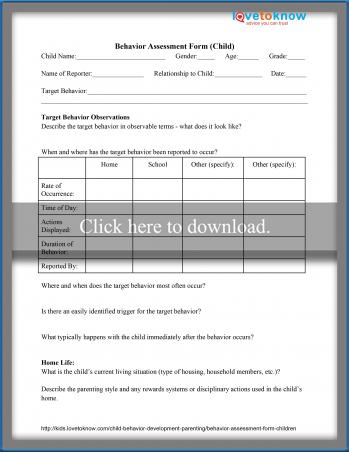 Behavior Assessment Form For Children LoveToKnow