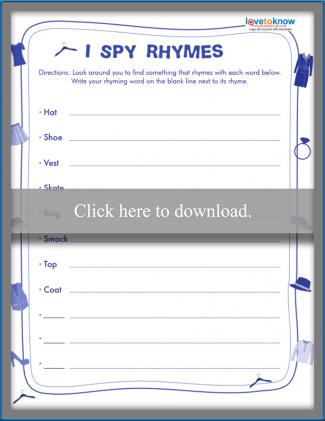 Printable I Spy Rhymes worksheet
