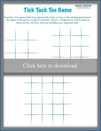 Printable Tick Tack Toe board game