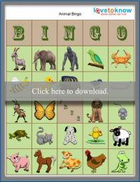 Printable Animal Bingo game boards