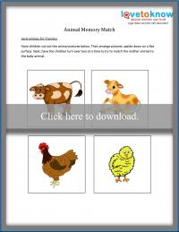 Printable Animal Memory Match game