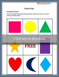 Printable Shape Bingo game