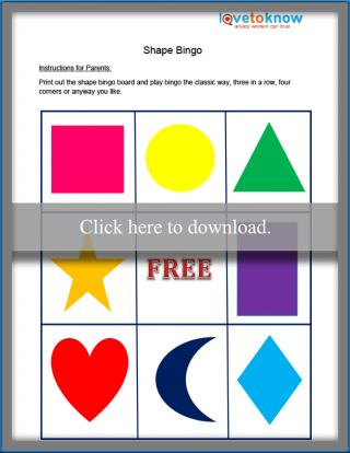 shapes bingo game printable