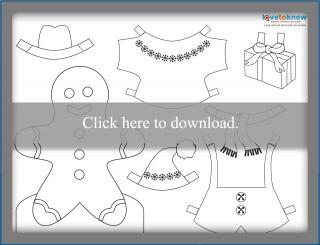 Gingerbread boy paperdoll printable PDF