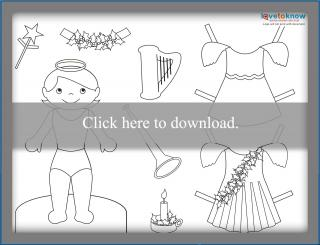 Angel girl paperdoll printable PDF