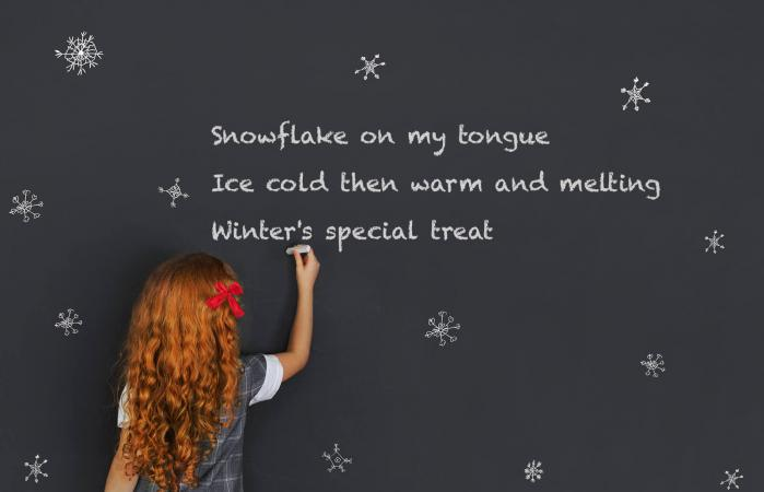 Girl writing winter poems