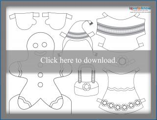 Gingerbread girl paperdoll printable PDF