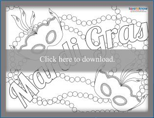 Free Mardi Gras sign coloring page