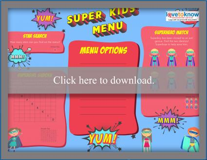 Full color superhero kids' menu games