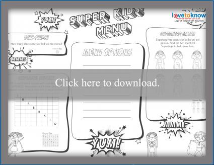 B & W superhero kids' menu games