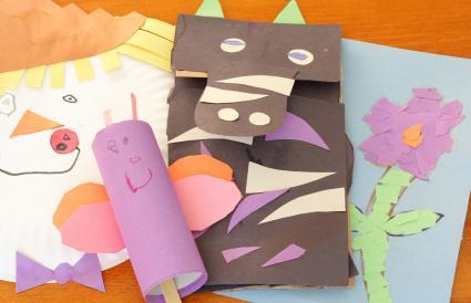 Paper bag Donkey puppet