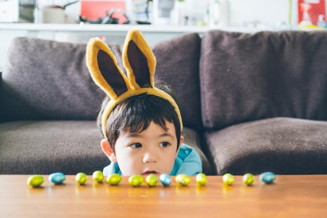 Boy with bunny ears at Easter