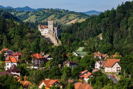 Castle and houses in Transylvania, Romania