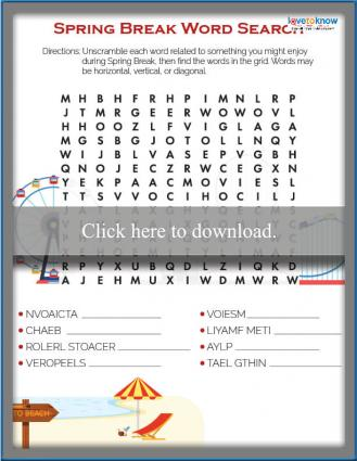 Spring Break Activities Word Search