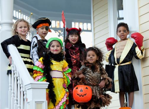 Kids showing off their Halloween costumes