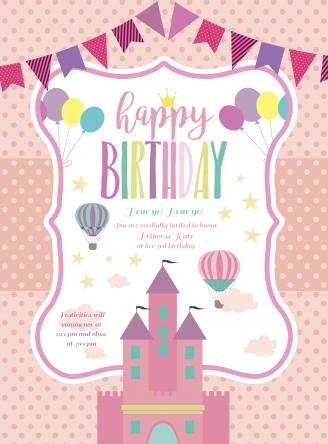 Princess invitation card