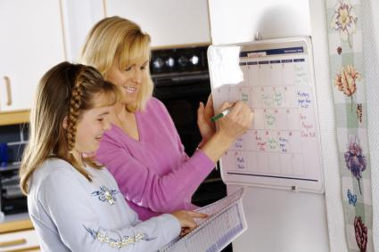 Woman and girl planning