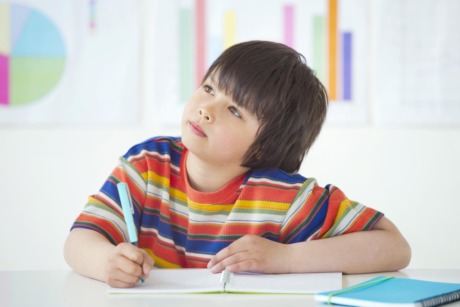 Boy Sitting Writing In Class